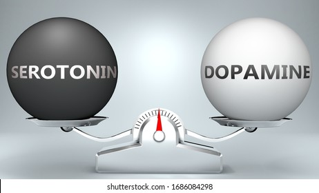 Serotonin and dopamine in balance - pictured as a scale and words Serotonin, dopamine - to symbolize desired harmony between Serotonin and dopamine in life, 3d illustration