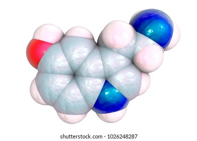 Serotonin molecule, monoamine neurotransmitter, primarily found in the gastrointestinal tract, the central nervous system and blood platelets, 3D illustration. Serotonin is thought to affect mood and