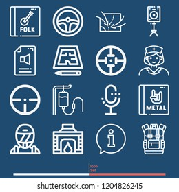Serum, nurse, steering wheel, race, fireplace, technical drawing, backpack, tactics map, target icon set suitable for info graphics, websites and print media and interfaces