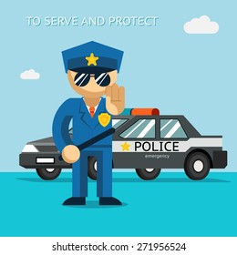 Serve and protect. Police officer stands in front of police car. Security male, car and officer, cop man