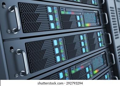 Server data center closeup panel room