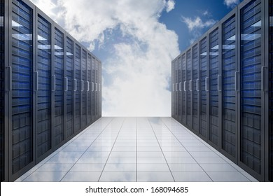 Server hallway in the sky