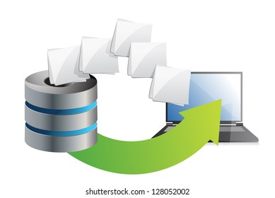 server and laptop transferring files over a white background
