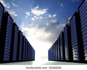 Server Racks with blue cloudy sky