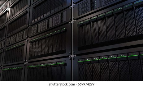 Server racks. Cloud storage technology or modern data center concepts. 3D rendering