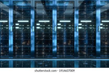 Server racks in computer network security server room data center, 3d rendering.
