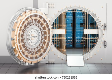 Server racks inside bank vault. Security and protection concept, 3D rendering