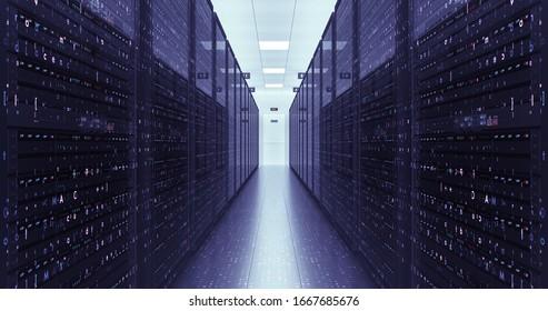 Server Racks In a Modern Data Center. Computer Racks All Around. Technology Related 3D Illustration Render