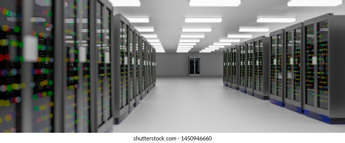 Server racks in server room cloud data center. Exit door. Datacenter hardware cluster. Backup, hosting, mainframe, farm and computer rack with storage information. 3D rendering. 3D illustration