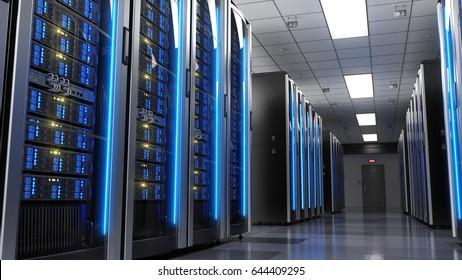 Server racks in server room data center.3d render