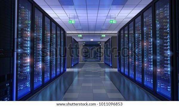 Server room, bit coin mining, supercomputing, command center 3d