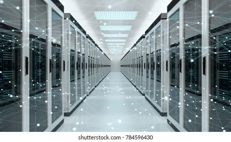 Centro de sala de servidor trocando dados cibernéticos e conexões renderização 3D