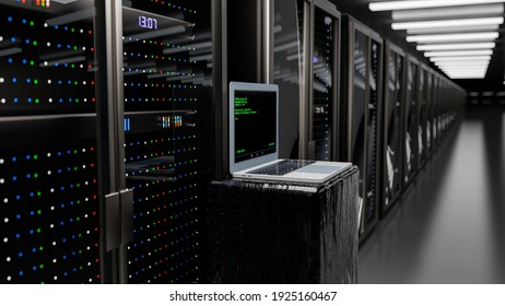 Server room data center. Rackmount LED console. Backup, mining, hosting, mainframe, farm and computer rack with storage information. 3d render
