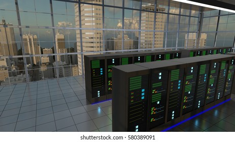 Server room in a large building like a bank of large corporate with a view on a big city. 3D render