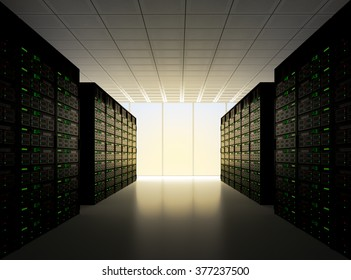 Server room, with many computers stacked together with a dramatic sunset lighting