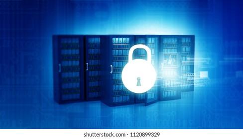 Server security concept background. 3d illustration