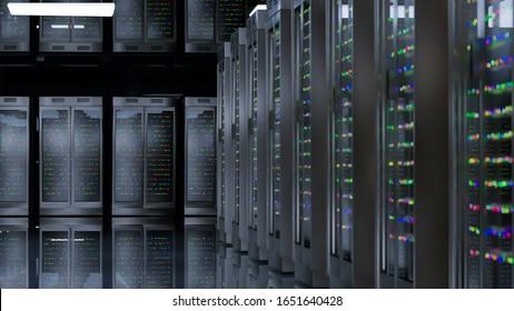 Servers. Server room data center. Backup, hosting, mainframe, farm and computer rack with storage information. 3d render