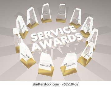 Service Awards Employee Honors Volunteer Recognition 3d Illustration