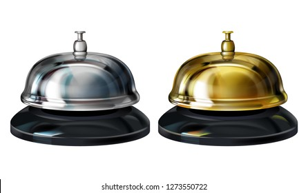 Service bells illustration of realistic 3D hotel concierge service or office reception gold and silver plated bells. Isolated on white background