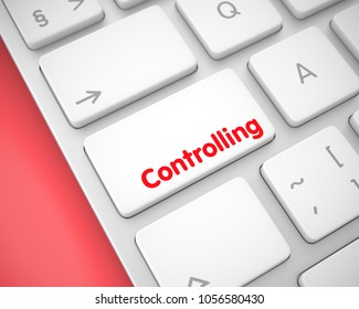 Service Concept: Controlling on the White Keyboard lying on the Red Background. Business Concept with Modern Computer Enter White Key on Keyboard: Controlling. 3D Illustration.