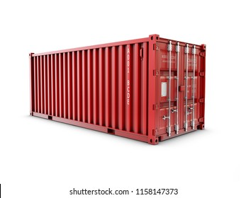 Service delivery, red cargo container. 3D rendering