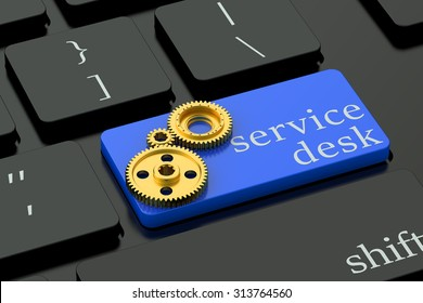 Service Desk concept on blue keyboard button