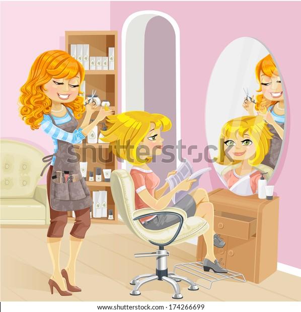 Service Girl Beauty Salon Hairdresser Raster Stock Illustration 174266699