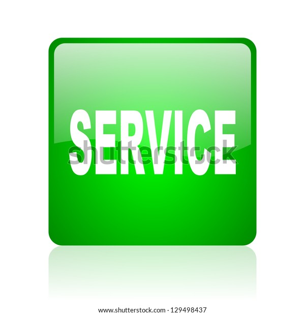 service green square web icon on white background