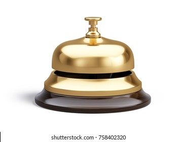 Service, hotel concept. Golden reception bell isolated on white background - 3d illustration