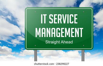 IT Service Management on Green Highway Signpost on Sky Background,