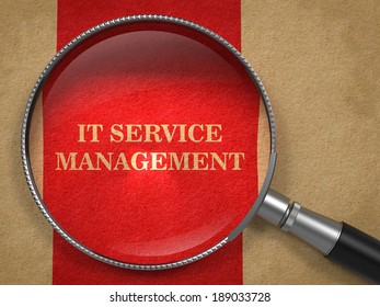 IT Service Management Through Magnifying Glass on Old Paper with Red Vertical Line Background.