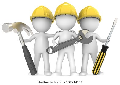 Service and repair. 3D little human character The Builders X3 with Tools. People series.