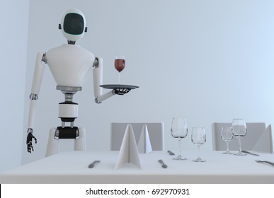 A service robot serving wine in a dining room (3d rendering)