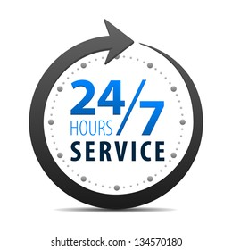 Service and support around the clock, 24 hours a day and 7 days a week symbol isolated on white background. Stylized blue icon