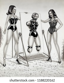 servile bound gentlewoman with mistress - erotic fetish painting