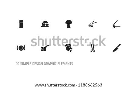 Set 10 Editable Food Icons Includes Stock Illustration 1188662563