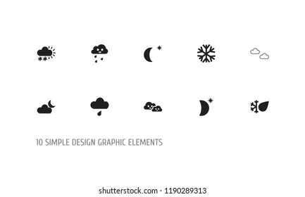 Set of 10 editable weather icons. Includes symbols such as laughing overcast, sleet, haze and more. Can be used for web, mobile, UI and infographic design.