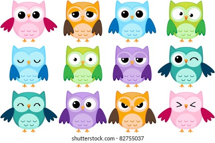 Set of 12 cartoon owls with various emotions. Raster version.