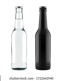 A Set of 12 oz Clear Glass and Black Bottles for Beer, Soda, Cola, Water or Other Drinks for Accurate Work with Light and Shadows. 3D Render Isolated on White Background.