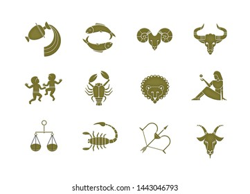 Set of 12 signs of the zodiac metallic bronze style. Horoscope. Isolated on white background