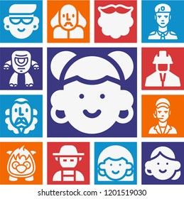Set of 13 avatar filled icons such as beard, farmer, soldier, clerk, engineer, shakespeare, cervantes, monster, cyclops