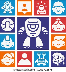 Set of 13 avatar filled icons such as idea, girl, followers, user, monster, cyclops, punk