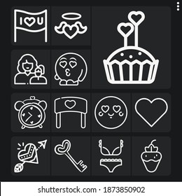 Set of 13 delightful lineal icons such as lovely heart, heart, love, manifestation, mom, valentines, muffin with hearts, fan, love key