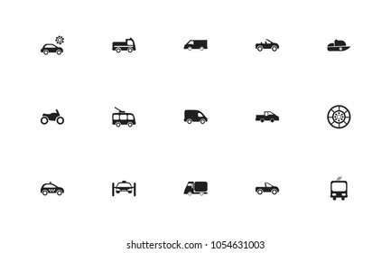 Set of 15 editable shipment icons. Includes symbols such as tire, trolleybus, camion and more. Can be used for web, mobile, UI and infographic design.