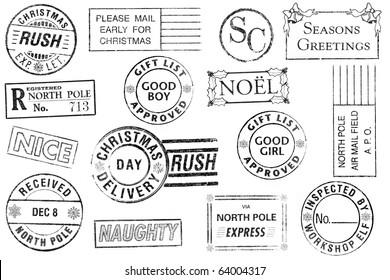 A set of 15 large, Christmas-themed stamps isolated on white. Ideal for bitmap brushes, holiday collages, etc.