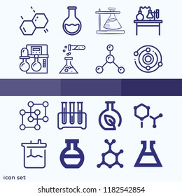 Set of 16 chemistry outline icons such as reaction, experiment, flask, round flask, three test tubes, laboratory bench, atoms, molecule, structure, chemistry
