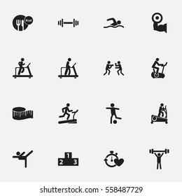 Set Of 16 Editable Exercise Icons. Includes Symbols Such As Bodybuilding, Heavy Training, Fight And More. Can Be Used For Web, Mobile, UI And Infographic Design.