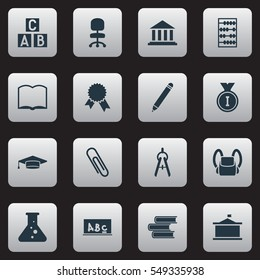 Set Of 16 Editable Graduation Icons. Includes Symbols Such As Math Tool, Univercity, Arithmetic And More. Can Be Used For Web, Mobile, UI And Infographic Design.
