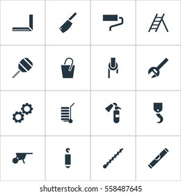 Set Of 16 Editable Instrument Icons. Includes Symbols Such As Measure, Sprinkler, Staircase And More. Can Be Used For Web, Mobile, UI And Infographic Design.