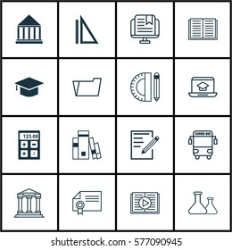 Set Of 16 Education Icons. Includes Graduation, Opened Book, E-Study And Other Symbols. Beautiful Design Elements.